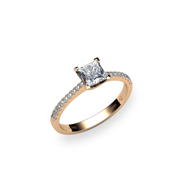 Betelgeuse. Rose gold princess solitaire ring