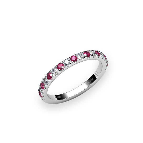 Grace. Pave-set ruby wedding ring