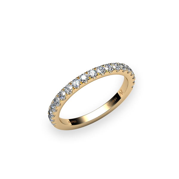 Grace. Pave-set yellow gold wedding ring