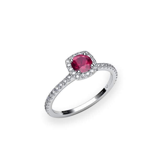 Grace. Ruby diamond halo ring