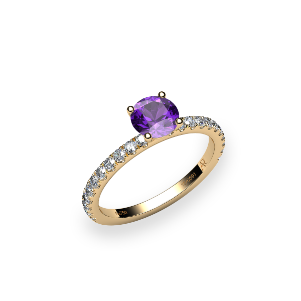 Iris. Prong-set amethyst solitaire ring