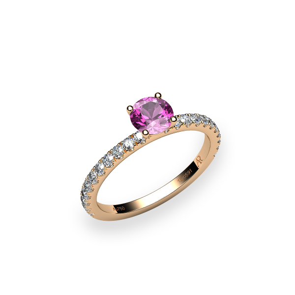 Iris. Prong-set pink sapphire solitaire ring