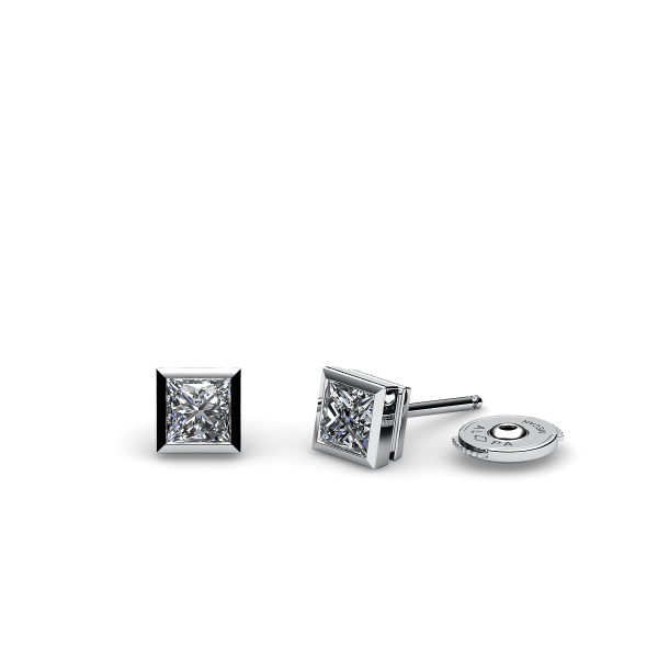 Isabel. Bezel set princess cut diamond earrings
