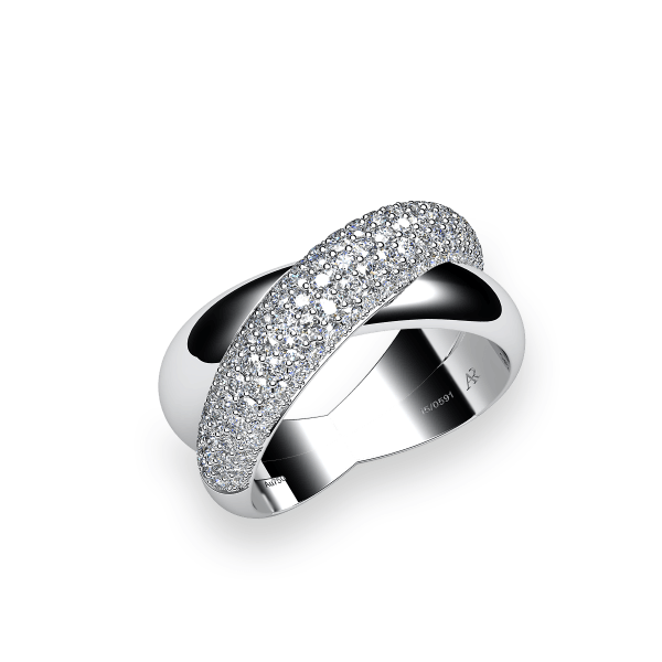 Link. 18k white gold pave ring