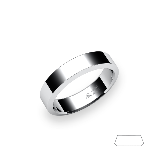 Rumba. Angled style wedding band in white gold