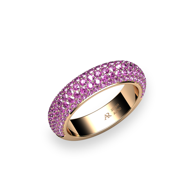 Silky. Pink sapphire pave-set ring