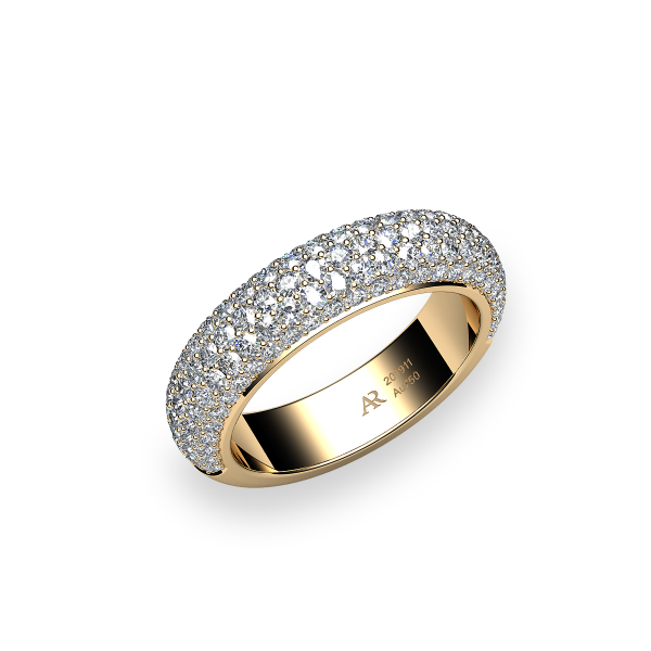 Silky. Yellow sapphire pave-set ring
