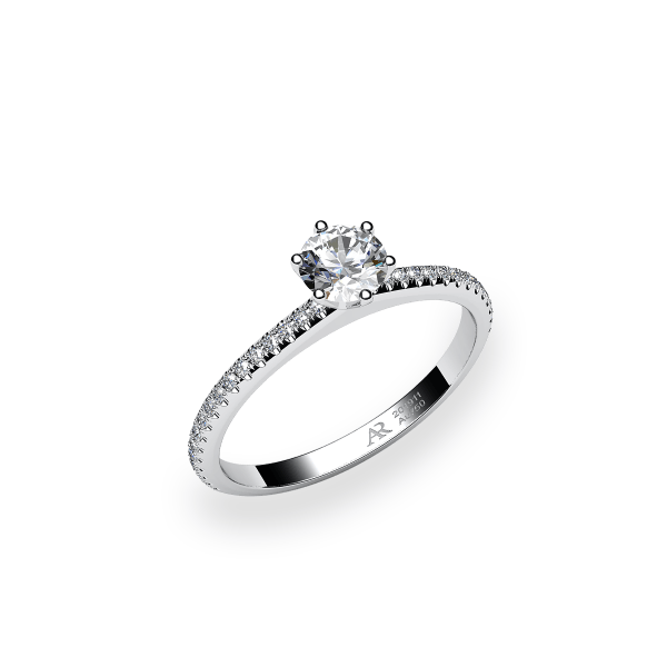 Stella. 6 prongs solitaire white gold ring