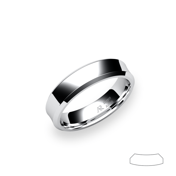 Swing. Concave wedding band in platinum