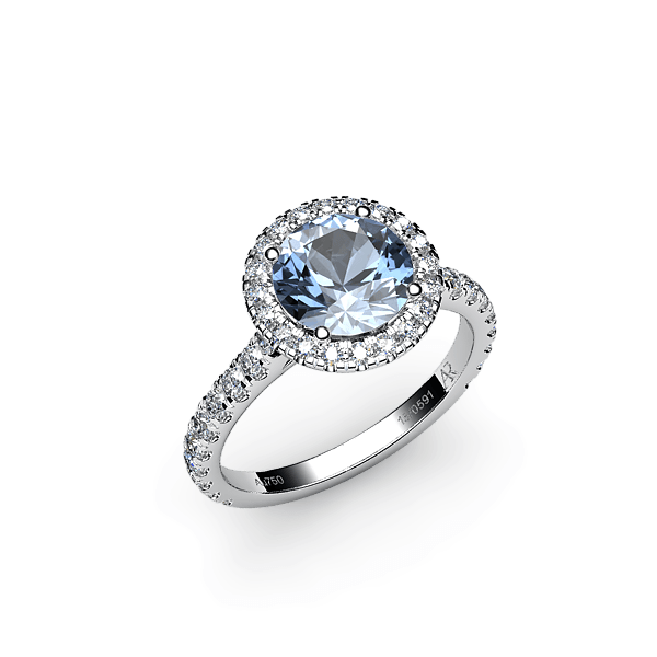 Tenderness. Aquamarine diamond halo ring