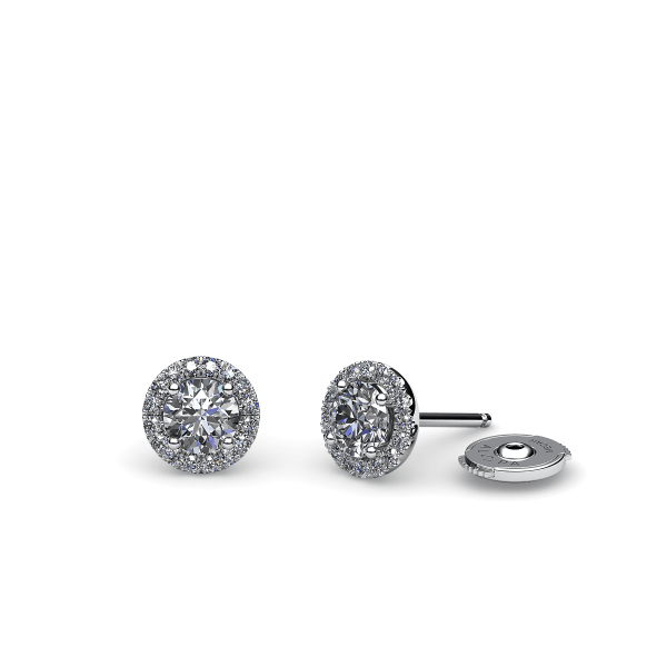 Tenderness. Diamond halo earrings