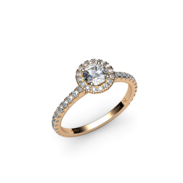 Tenderness. Rose gold diamond halo ring