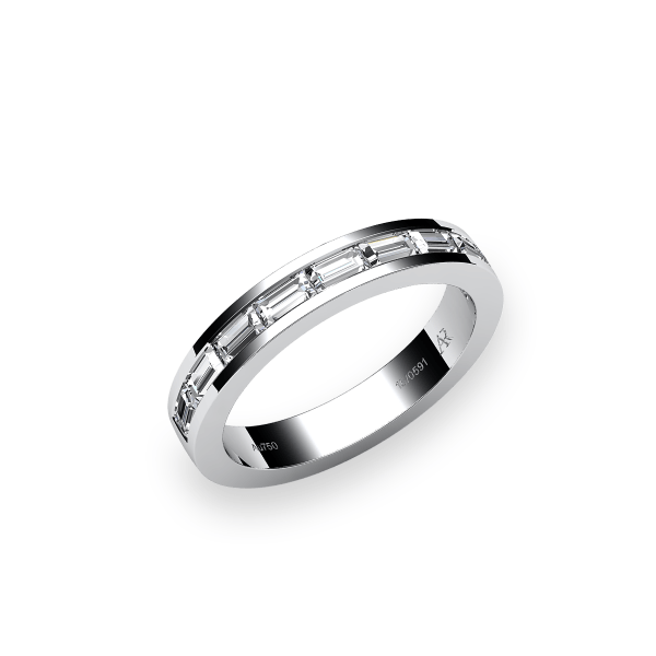 Venice. Channel-set baguettes white gold wedding ring