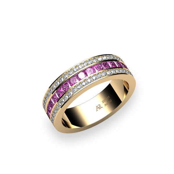 Venice. Channel-set princess cut pink sapphire wedding ring