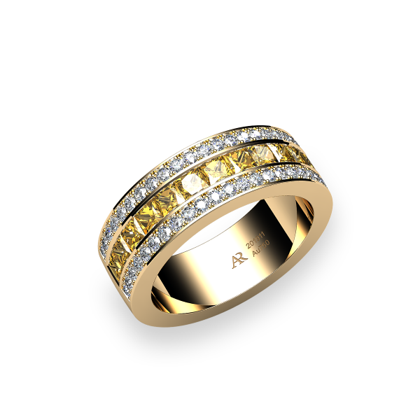 Venice. Channel-set princess cut yellow sapphire wedding ring