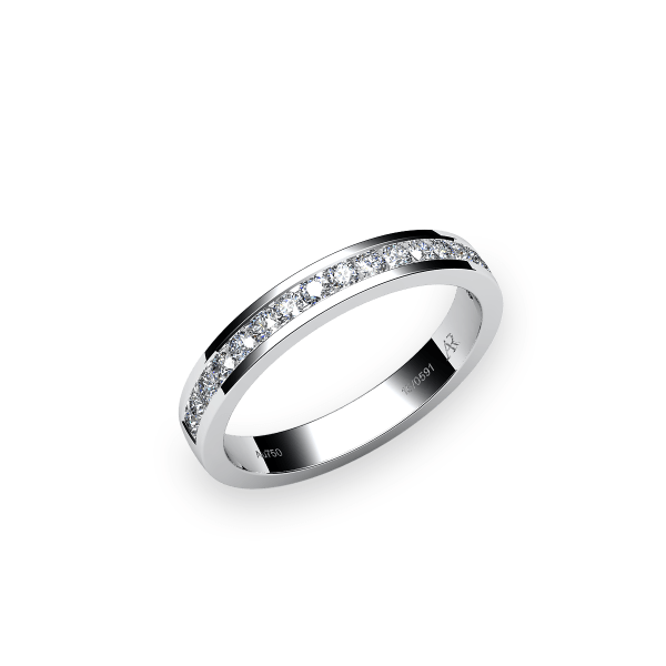 Venice. Channel-set white gold wedding ring