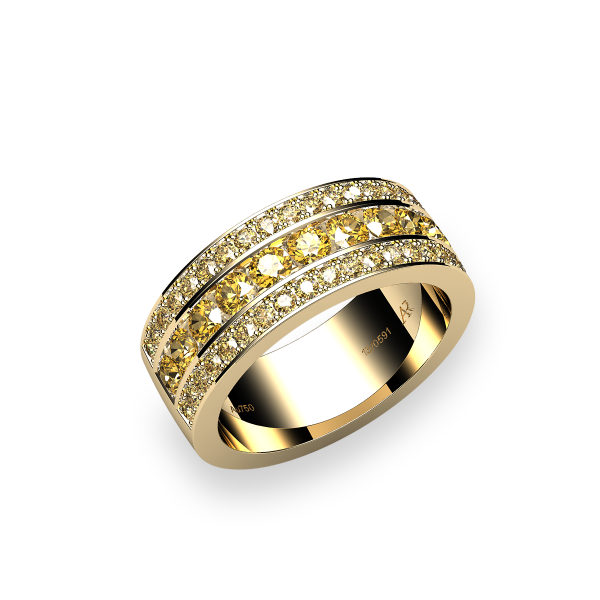 Venice. Channel-set yellow sapphire wedding ring