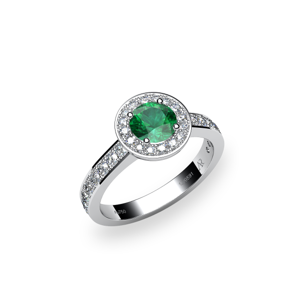 Violet. Emerald and diamonds pave ring