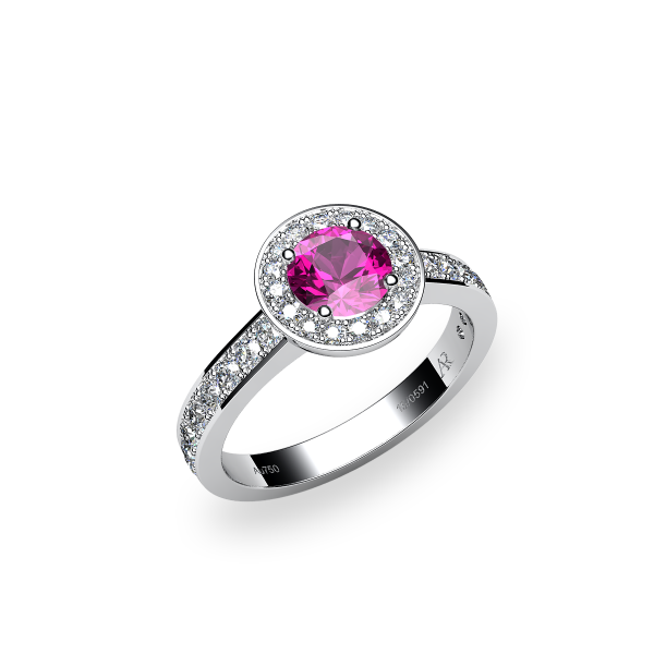 Violet. Pink sapphire and diamonds pave ring