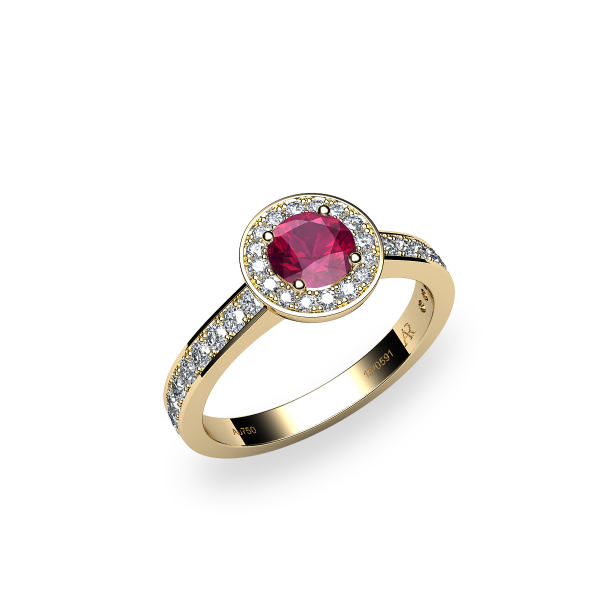 Violet. Ruby and diamonds pave ring