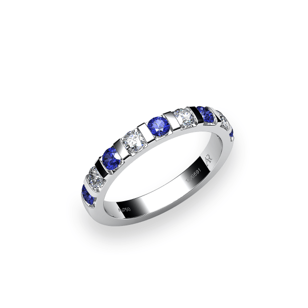 Zayane. 18k gold blue sapphire wedding ring